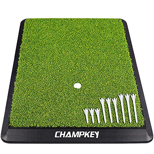 CHAMPKEY Premium Synthetic Turf Golf Hitting Mat   Heavy Duty Rubber Base Golf Practice Mat   Come with 1 Rubber Tee and 9 Plastic Tees