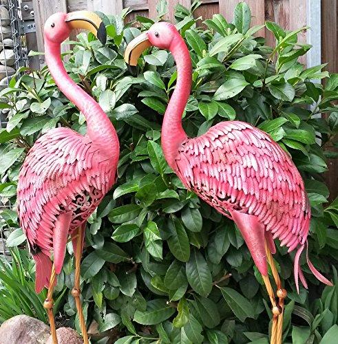 Vintage Flamingo 2er Set Gartenfigur Metall Figur Bunt Tier Vogel Deko Teichfigur Gartendeko Garten Höhe 97cm