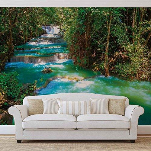 Wasserfälle Bäume Wald Natur - Forwall - Fototapete - Tapete - Fotomural - Mural Wandbild - (1968WM) - XL - 184cm x 254cm - Papier (KEIN VLIES) - 2 Pieces