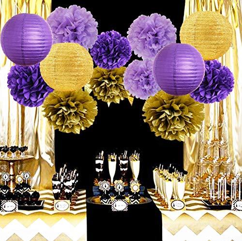 Furuix Purple Gold Birthday Party Decorations Glitter Gold/Purple Paper Lanterns Tissue Paper Pom Poms Purple Birthday/Baby Shower/Bridal Shower/Wedding Decorations/LSU Decorations