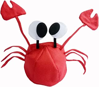 Christmas Red Lobster Crab Sea Animal Party Hat Halloween Costume Fancy Adult Children Cap-Red Color