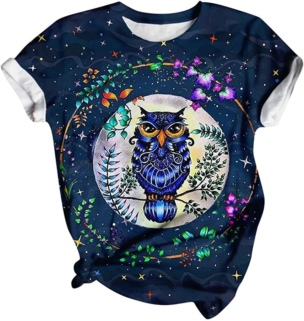 Hotkey Women's Tops O-Neck Ranking TOP18 Short OFFicial mail order Star Floral Owl Sleeve T-Shirts