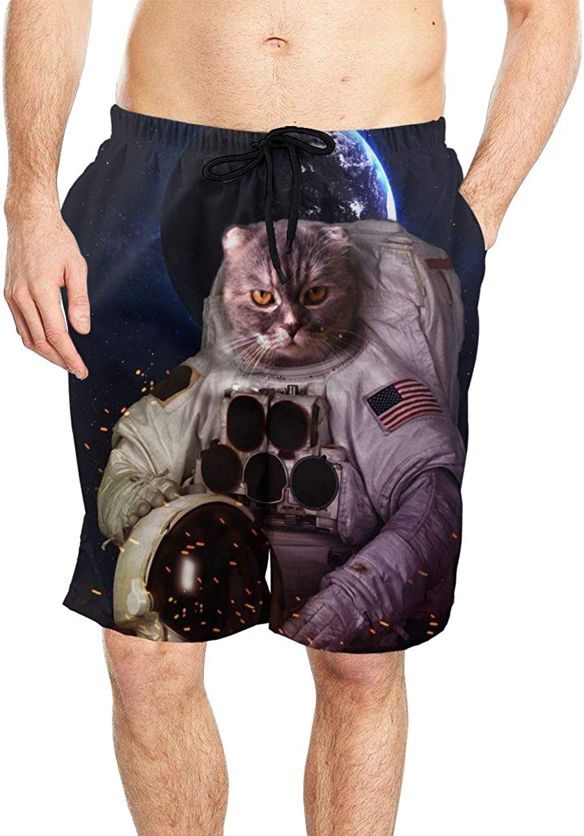 DASMUS Cat in Outer Space Mens Quick Dry Beach Board Shorts Swim Trunks with Mesh Lining