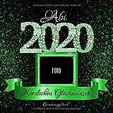 Abi 2020: Personalisiertes Gästebuch I Festliches Schwarz Grün Diamant Cover mit Fotorahmen I...