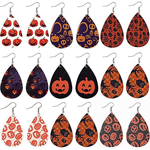 N\C Juego de 9 pares de pendientes de cuero de Halloween con estampado de pendientes Jack-O-Lantern