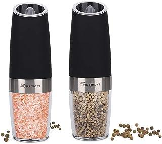 Electric Salt and Pepper Grinder Set, Automatic Gravity Activated Adjustable Coarseness One Hand Operation Pepper Grinder...