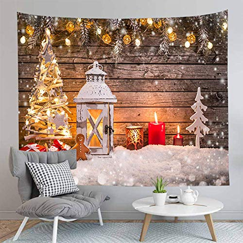 Jasion Merry Christmas Tapestry Xmas Tree Winter Snowflake Candle Wooden Backdrop Wall Hanging Art for Backdrop for Photography Blanket Home Bedroom Living Room Dorm Festival Decor in 51x60 Inches