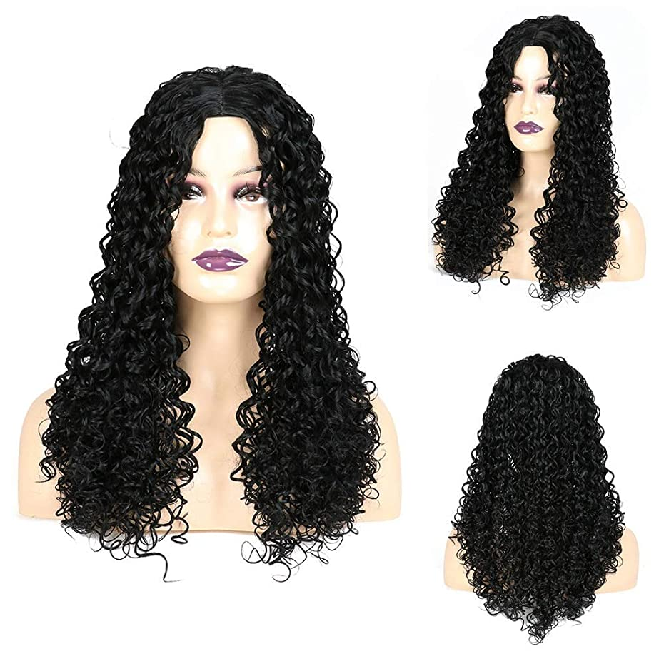 プレーヤー排除ゲートウェイYESONEEP ジェリー巻き毛のかつら黒アフリカ小さな巻き毛のかつら女性の毎日のドレスパーティーかつらのための長い巻き毛のかつら (色 : 黒, サイズ : 22 inch)