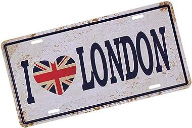 Unicoco Signe de cru de ferblanterie Metal I Love London Coffee Shop Bar Pub décorations Creative Mur de Fer Plaque Poster