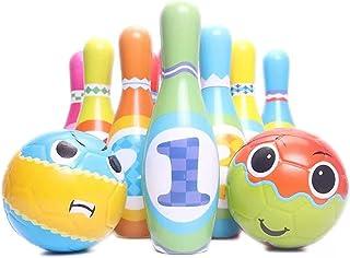 QKFON Çocuk Bowling Oyuncak Seti 2 Bowling Topu içerir 6/10 Renkli Yumuşak Köpük Pinler Ev Oyunları Erken Eğitim Oyuncakla...