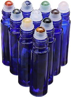 Cobalt Blue Glass Roller Bottle 10 Pack 10ml Gemstone Roller Ball For Essential Oils,Natural Crystal Stones Roller Ball Wi...
