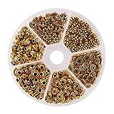PandaHall Elite - 300pcs 6 Styles Perles Intercalaires Perles d'Espacement de Style Tibétain en Alliage pour la Fabrication de Bijoux Collier Bracelet, Doré Antique