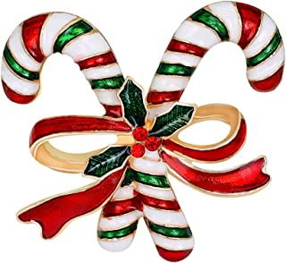 PRETYZOOM - Spilla natalizia con stampelle, in lega, con fiocco, per abbigliamento, sciarpa, gioielli