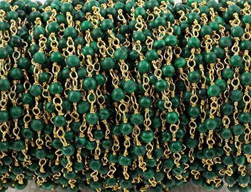 Shree_Narayani Rosario de Malaquita de 3 pies de cadena Rondelle de alambre liso envuelto en oro estilo rosarios cadena de cuentas colgante racimo angoori Strand