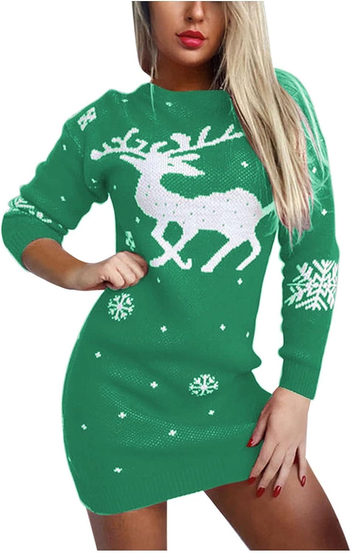 Hemlock Women Christmas Sweater Dress Elk Snowflake Sweater Pullovers Long Sleeve Knit Mini Dress