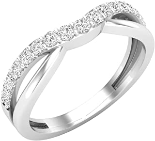 0.25 Carat (ctw) 14K Gold Round Cut Diamond Ladies Anniversary Wedding Guard Contour Band 1/4 CT