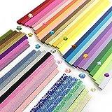 DOITEM 1900 Hojas 3 Estilos 49 Colores Origami Estrellas Papel Juego de papel a doble cara, luminoso y con brillo