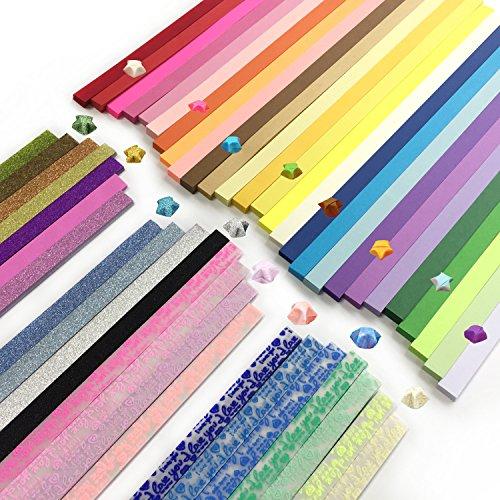 DOITEM Origami Sterne Papier doppelseitig und Leuchtend und Glitter Papier Set, 3 Styles, 49 Farben, 1850 Streifen