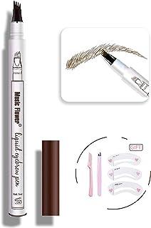 مداد تاتو ابرو قلم-MoonKong ضد آب میکروبلاستینگ ابرو با یک میکرو میکرو چنگال باعث می شود تا ابروها با ظاهر طبیعی به راحتی ایجاد شوند (Dark Gary)