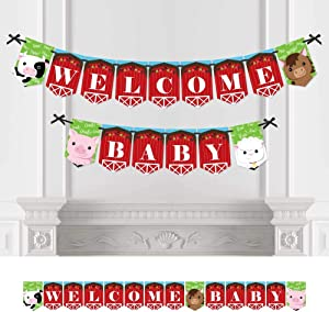 Big Dot of Happiness Farm Animals - Baby Shower Bunting Banner - Barnyard Party Decorations - Welcome Baby