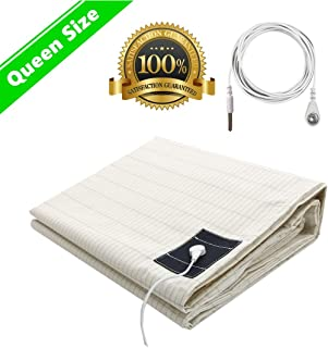 Earthing Sheet 60''x80'' with Grounding Connection Cord, Silver Fiber Grounding Mat for Better Sleep Fits Queen - EMF Protection