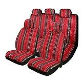 P&J Baja Blanket Car Seat Covers Flourish Women Boho Designs Universal Size Fit for Most Cars SUVs Trucks Vans Woven Fabric Full Set Pack 9pcs Red Color Female