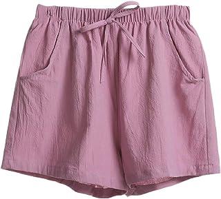 desolateness Womens High Waist Drawstring Shorts Cotton Linen Solid Color Wide Leg Loose Pants