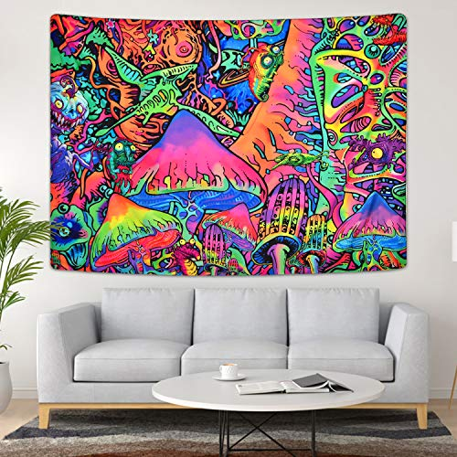 Lyacmy Psychedelic Tapestry Colorful Mushroom Tapestry Trippy Monster Tapestry Hippie Abstract Tapestry for Room (59.1 x 82.7 inches)