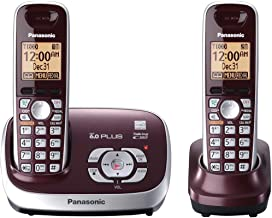 Panasonic KX-TG6572R DECT 6.0 Cordless Phone with Answering System, Wine Red, 2 Handsets