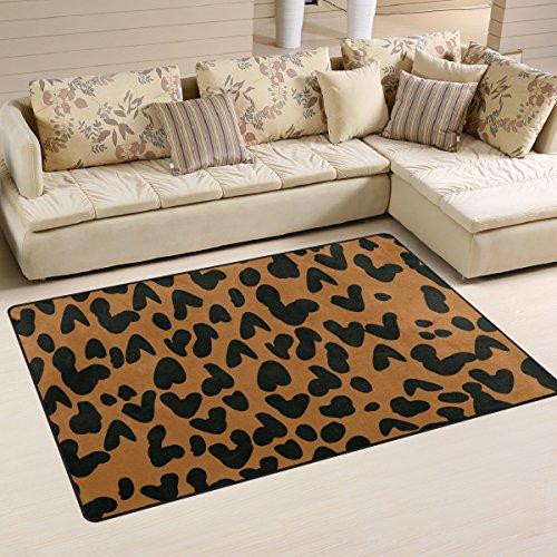coosun leopardo área alfombra alfombra alfombra de suelo antideslizante Doormats para salón o dormitorio 60x 39cm, tela, multicolor, 31 x 20 inch