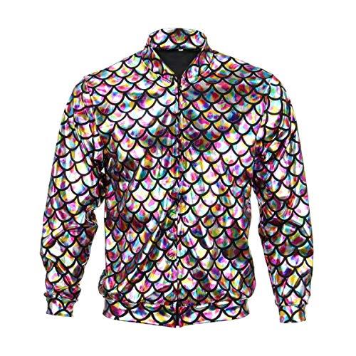 BFD Bomberjacke für Herren und Damen, metallisch, glänzend, leicht, Slim Fit Gr. Medium/Large, Rainbow Scale