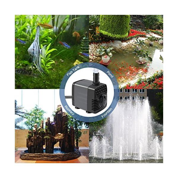 Ankway Bomba de Agua Sumergible Mejorada 600L/H 10W Bomba Agua Ultra Silencioso con Tubería de Vinilo (1M/39…