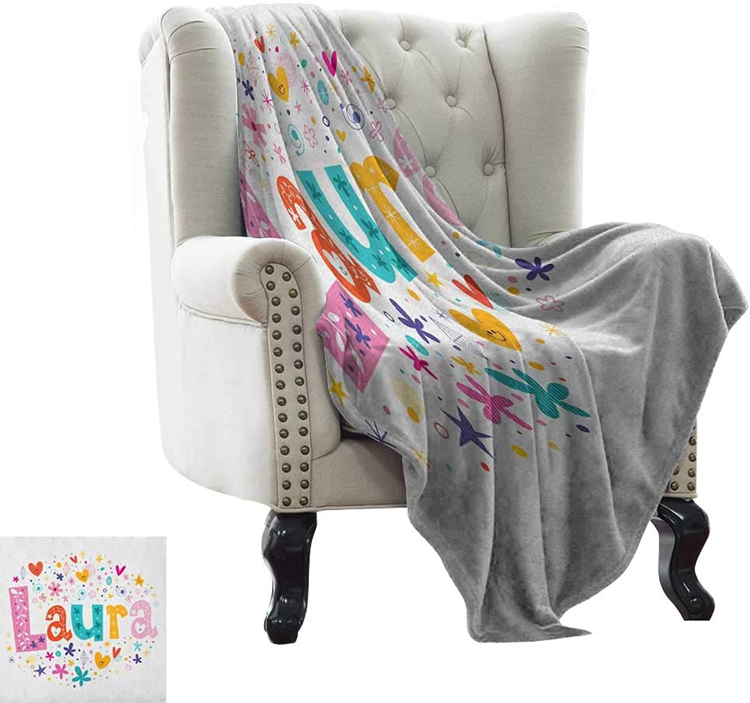 Warmfamily Laura,Throw Blanket,Baby Girl Name with Vintage Doodle Style Flowers and Stars colorful Illustration 60 x36 ,Super Soft and Comfortable,Suitable for Sofas,Chairs,beds