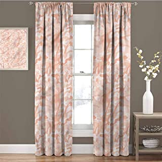 GUUVOR Camouflage 99% Blackout Curtains Soft Peach Tones for Bedroom Kindergarten Living Room W72 x L96 Inch