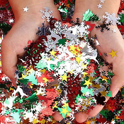 Kungfu Mall 60g 10 Arten Pailletten Weihnachten Konfetti Weihnachtsfeier Dekoration-Schneeflocke Santa Rentier Weihnachtsbaum Konfetti für Xmas Home Kids Handgemachte Handwerk Dekoration