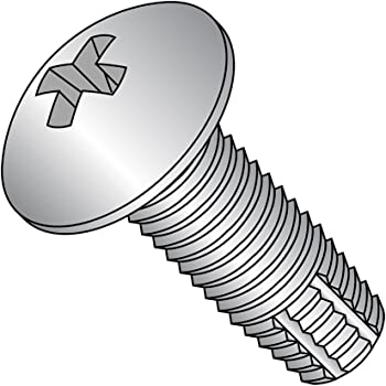Pack of 25 1//4-20 Thread Size Type F Truss Head Zinc Plated Finish Phillips Drive 1//2 Length Steel Thread Cutting Screw