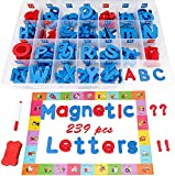 239Pcs Magnetic Letters Kit, Alphabet ABC Magnets Set Foam Lowercase and Uppercase Letter Tiles with Writing Board Eraser Organization Box Perfect for Kids Classroom Teacher Home School Supplies