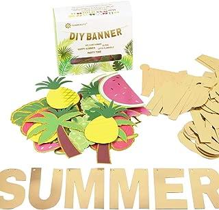 SUNBEAUTY Customizable Letters Summer Banner Fruit Party DIY Banner for Luau Tiki Party Tropical Hawaiian Festival Favors Photo Backdrop Window Decor (Summer Banner)