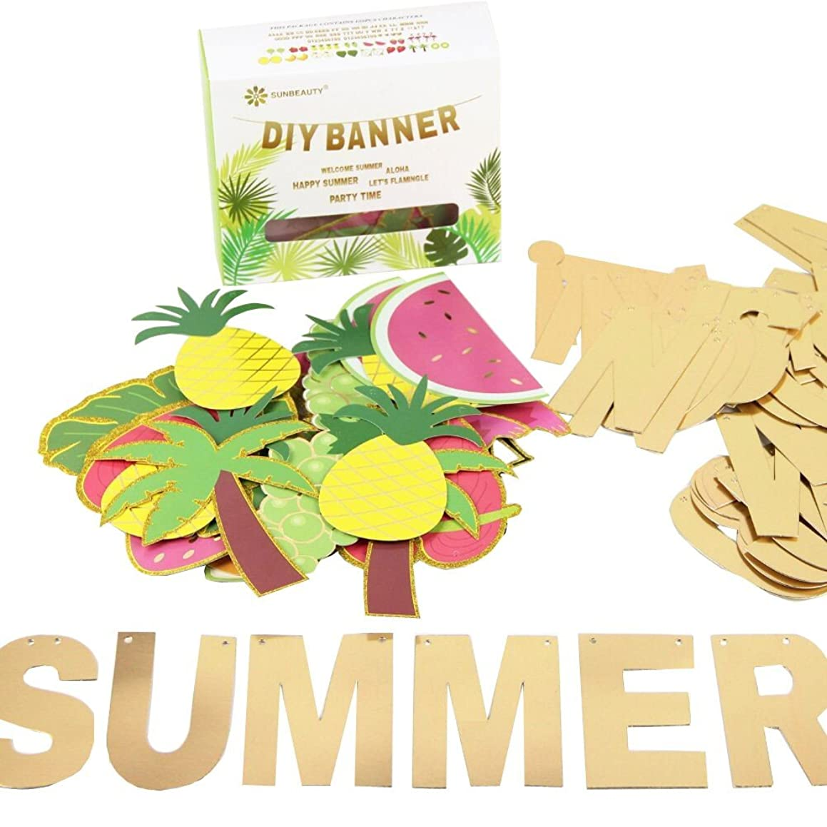 SUNBEAUTY Customizable Letters Summer Banner Fruit Party DIY Banner for Luau Tiki Party Tropical Hawaiian Festival Favors Photo Backdrop Window Decor (Summer Banner)