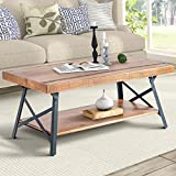 """Harper&Bright Designs 43' Lindor Collection Wood Coffee Table with Metal Legs,Living Room Set/Rustic Brown, 43.3""""L x 21.65""""W x 18.34""""H"""
