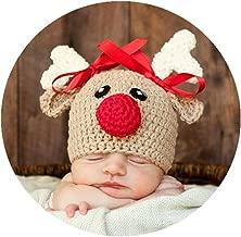 Coberllus Newborn Baby Photo Props Outfits Crochet Christmas Deer Hat for Boys Girls Photography Shoot