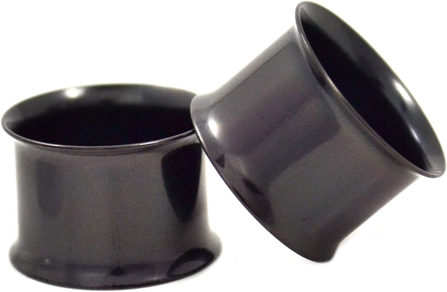 Super special price 40% OFF Cheap Sale Pair of Black Titanium Plated Ear Double Gau Plugs Flared Tunnel