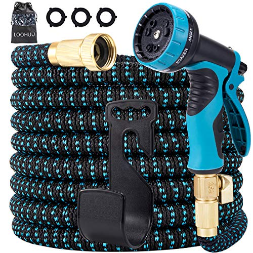 LOOHUU Expandable Garden Hose,Water Hose with 10 Function Spray Nozzle and Durable 3-Layers Latex, Lightweight Flexible Hose with Solid Brass Fittings, Best Choice for Watering and Washing(50FT)