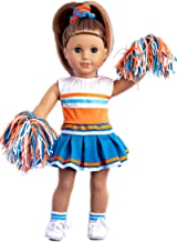 DreamWorld Collections - Cheerleader - 6 Piece Cheerleader Outfit - Blouse, Skirt, Headband, Pompons, Socks and Shoes - Clothes Fits 18 Inch American Girl Doll (Doll Not Included)
