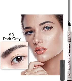 Tattoo Eyebrow Pen Music Flower 4 Tips Waterproof Microblading Pen Fine Sketch Super Durable Smudge-proof Natural Brow Tint (Dark grey)