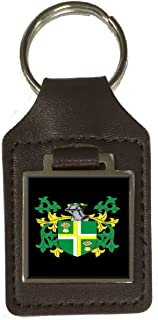 Gary Family Crest Surname Coat Of Arms Brown Leather Keyring Engraved