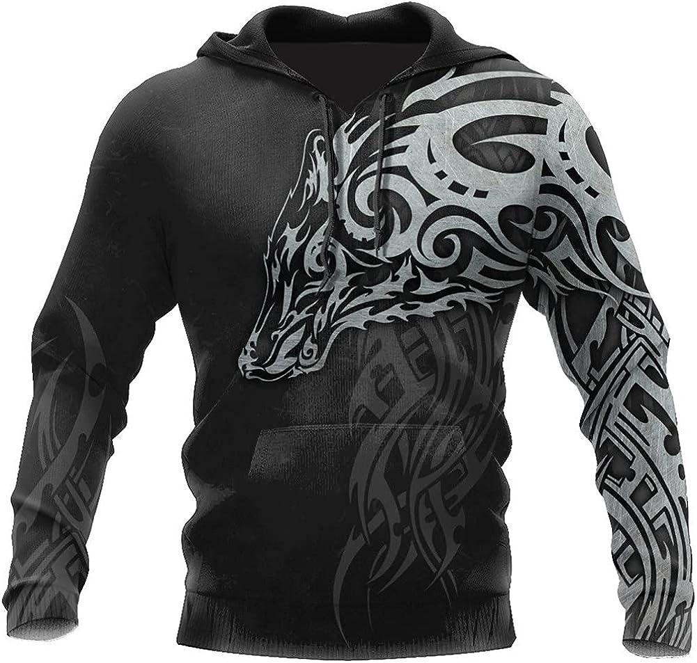 Mens Casual 3D All Over Print Hoodies, Viking Wolf Tattoo Man Pullover Women Hood, Sweatshirt Hip-Hop Jacket Unisex New Streetwear,B,M