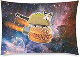 Funny Taco Cat Riding Hamburger in Space Pillowcase - Cute Kittens Decor Zippered Pillowcase, Pillow Protector, Best Pillow Cover - Queen Size 20x30 inches, Twin-sided Print