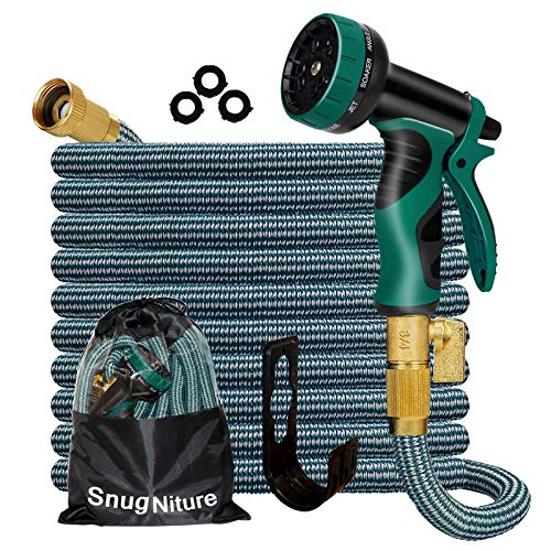 """SnugNiture 100FT Expandable Garden Hose with 10 Function Spray Nozzle, Superior Strength 3750D No-Kink Expanding Pipe, Leakproof Lightweight Water Hose with 3/4"""" Solid Connector"""