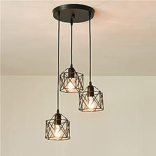 Suspension Luminaire Industrielle 3 Lumière Lampes Suspendus Hauteur de Câble Réglable E27 Luminaires de Plafond Semi-Enca...